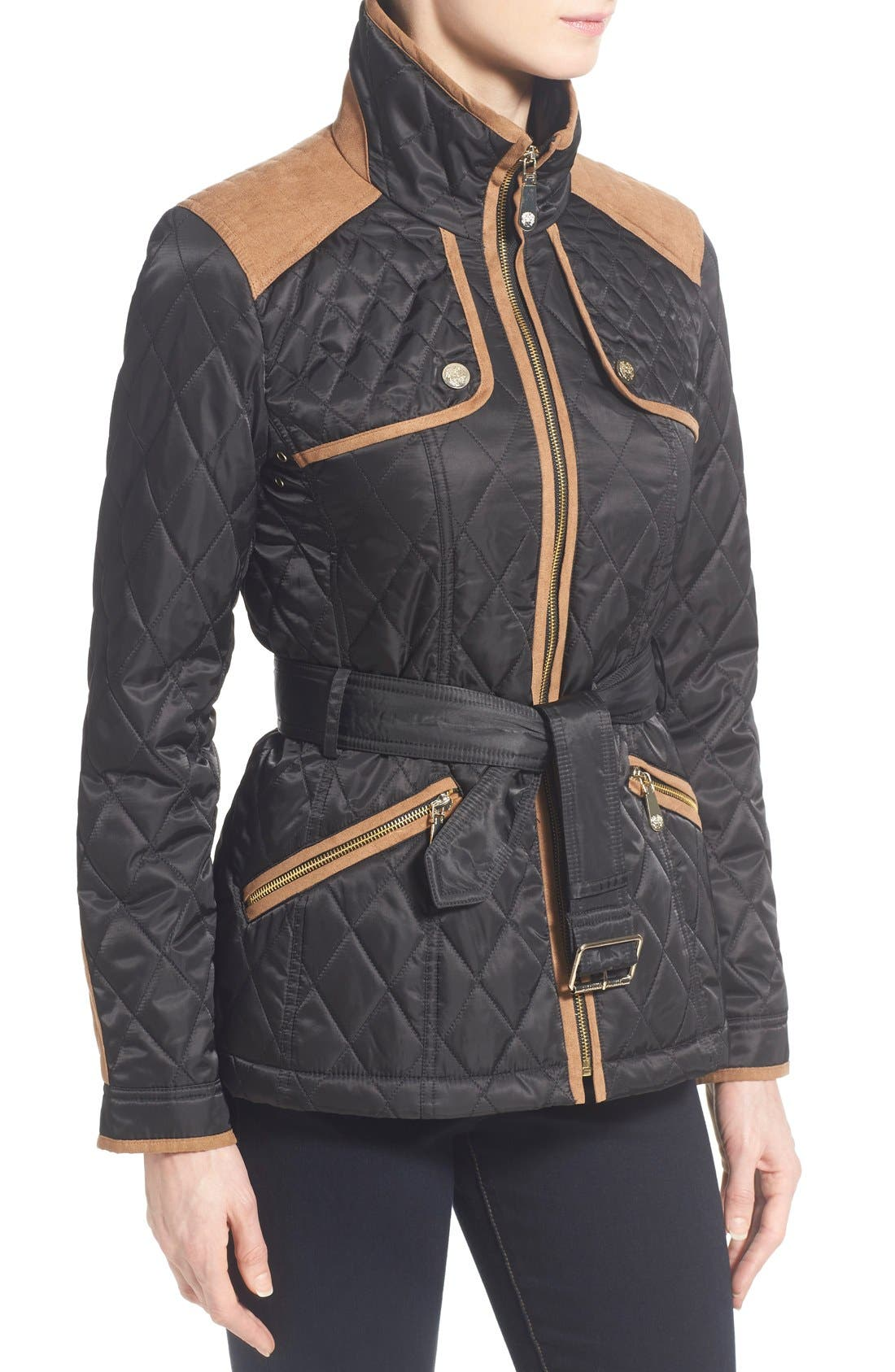 Faux Suede Trim Belted Quilted Jacket,                             Alternate thumbnail 3, color,                             Black/ Ginger