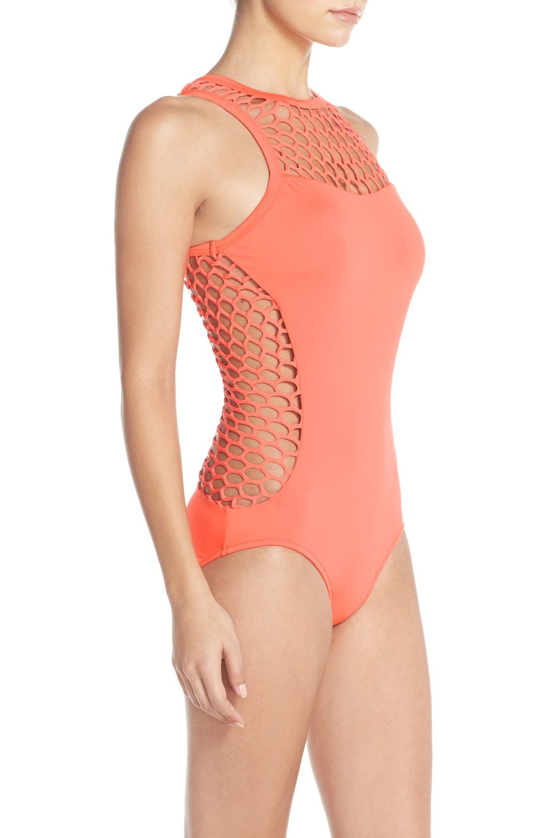 Alternate Image 3  - Seafolly 'Mesh About' High Neck One-Piece Swimsuit