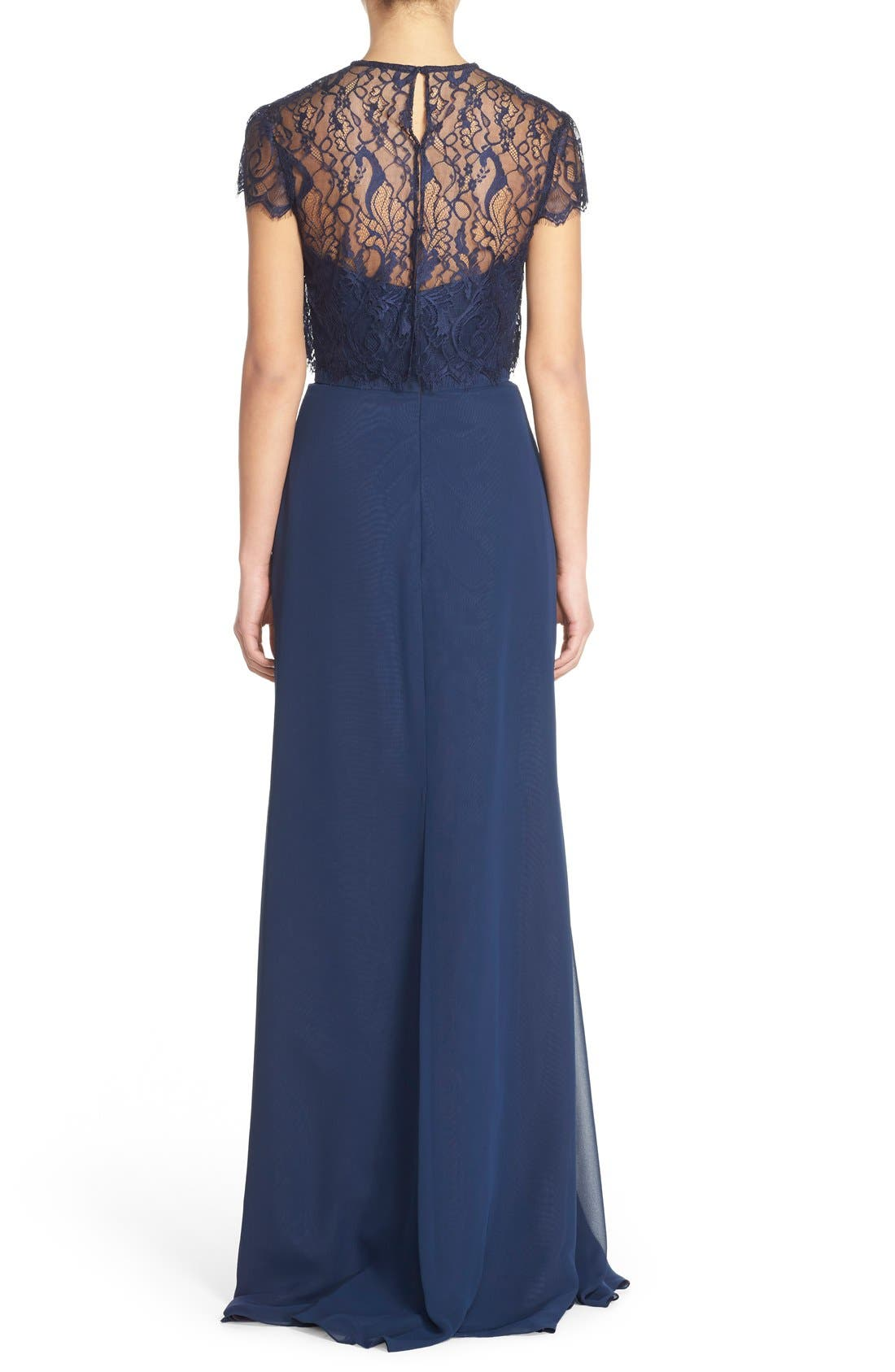 Strapless Chiffon A-Line Gown with Removable Lace Overlay,                             Alternate thumbnail 2, color,                             Navy