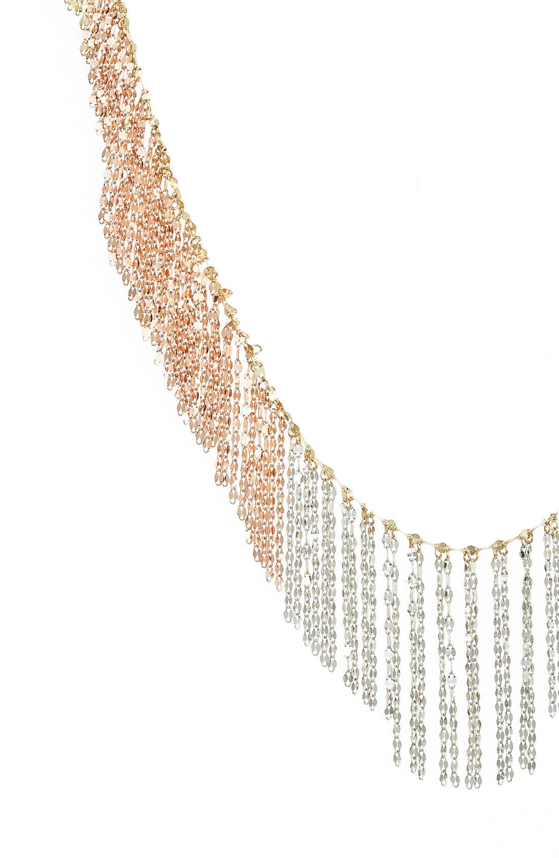'Nude' Tri-Color Fringe Necklace,                             Alternate thumbnail 2, color,                             Yellow/ Rose/ White Gold