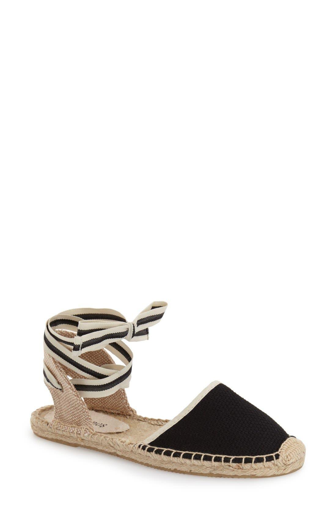Espadrille Sandal,                         Main,                         color, Black Linen