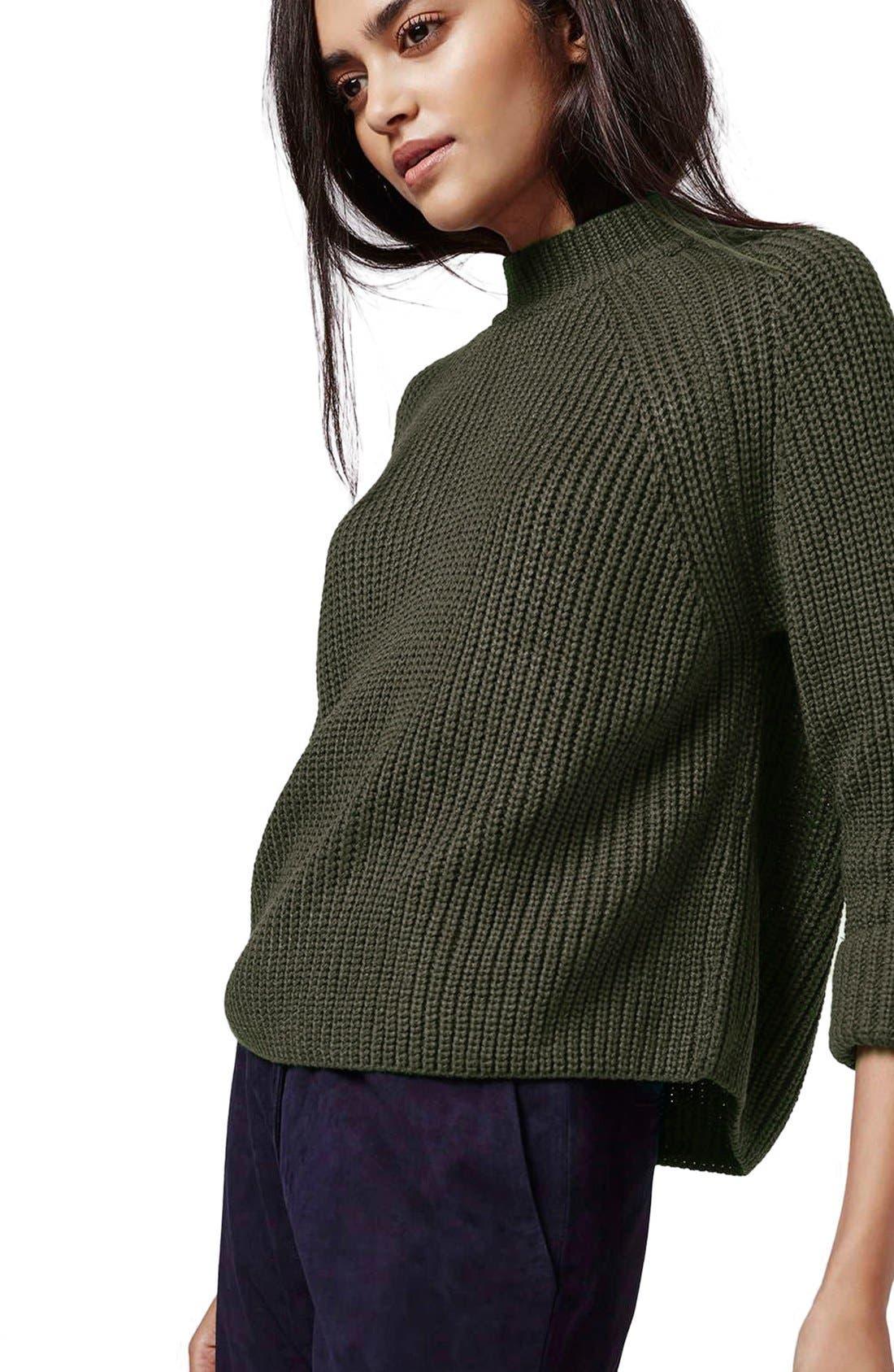 Alternate Image 5  - Topshop Mock Neck Raglan Sweater