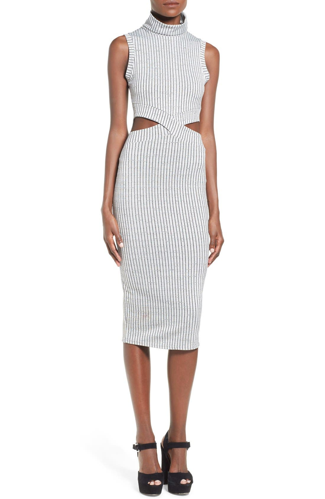 Main Image - Missguided Funnel Neck Cutout Midi Dress