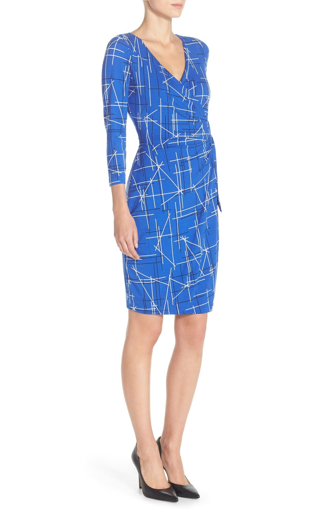 Print Faux Wrap Dress,                             Alternate thumbnail 3, color,                             Electric Triangles Print
