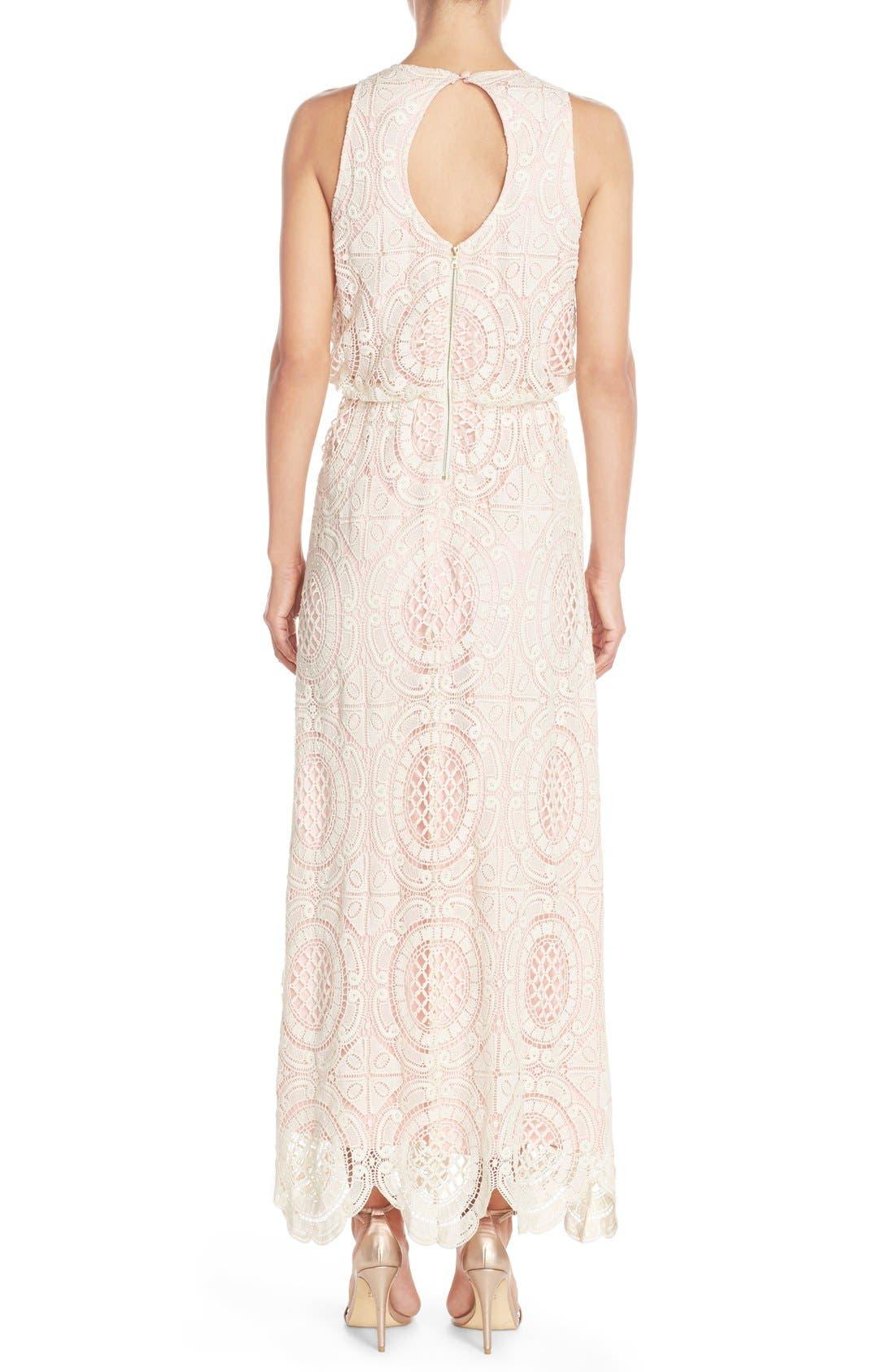 Lace Blouson Maxi Dress,                             Alternate thumbnail 2, color,                             Beige