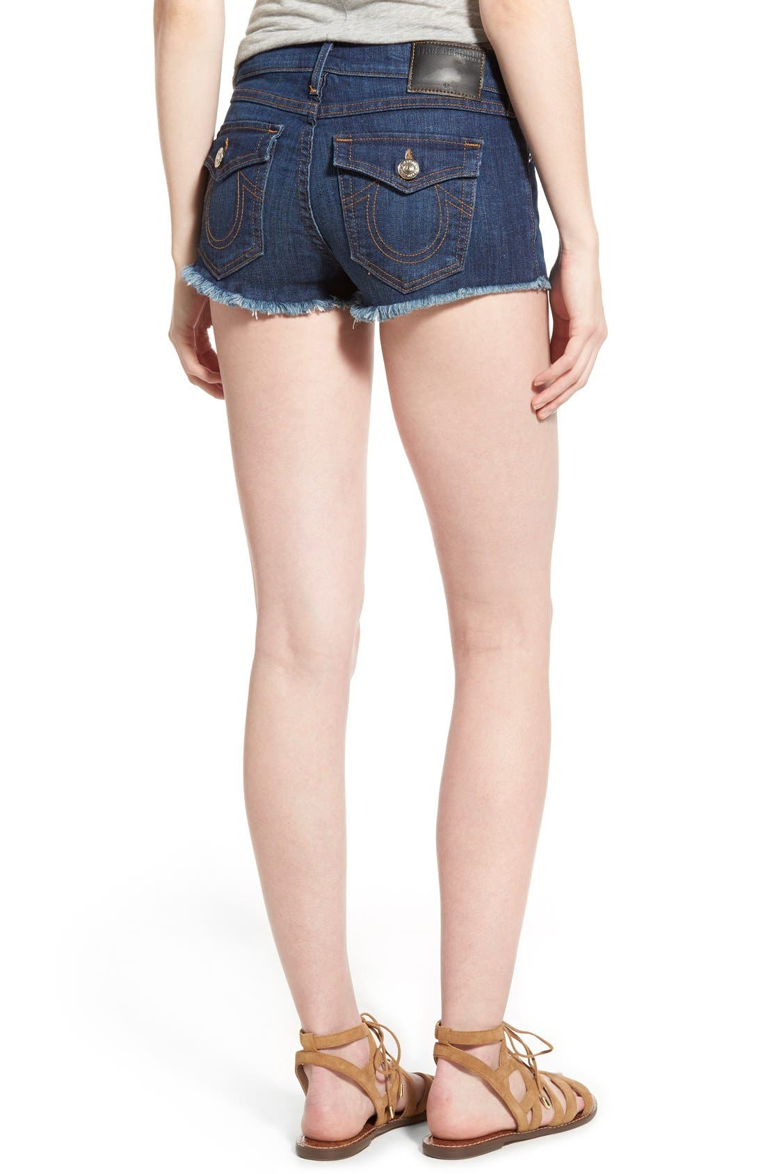Joey Flap Pocket Cutoff Denim Shorts,                             Alternate thumbnail 2, color,                             Worn Vintage