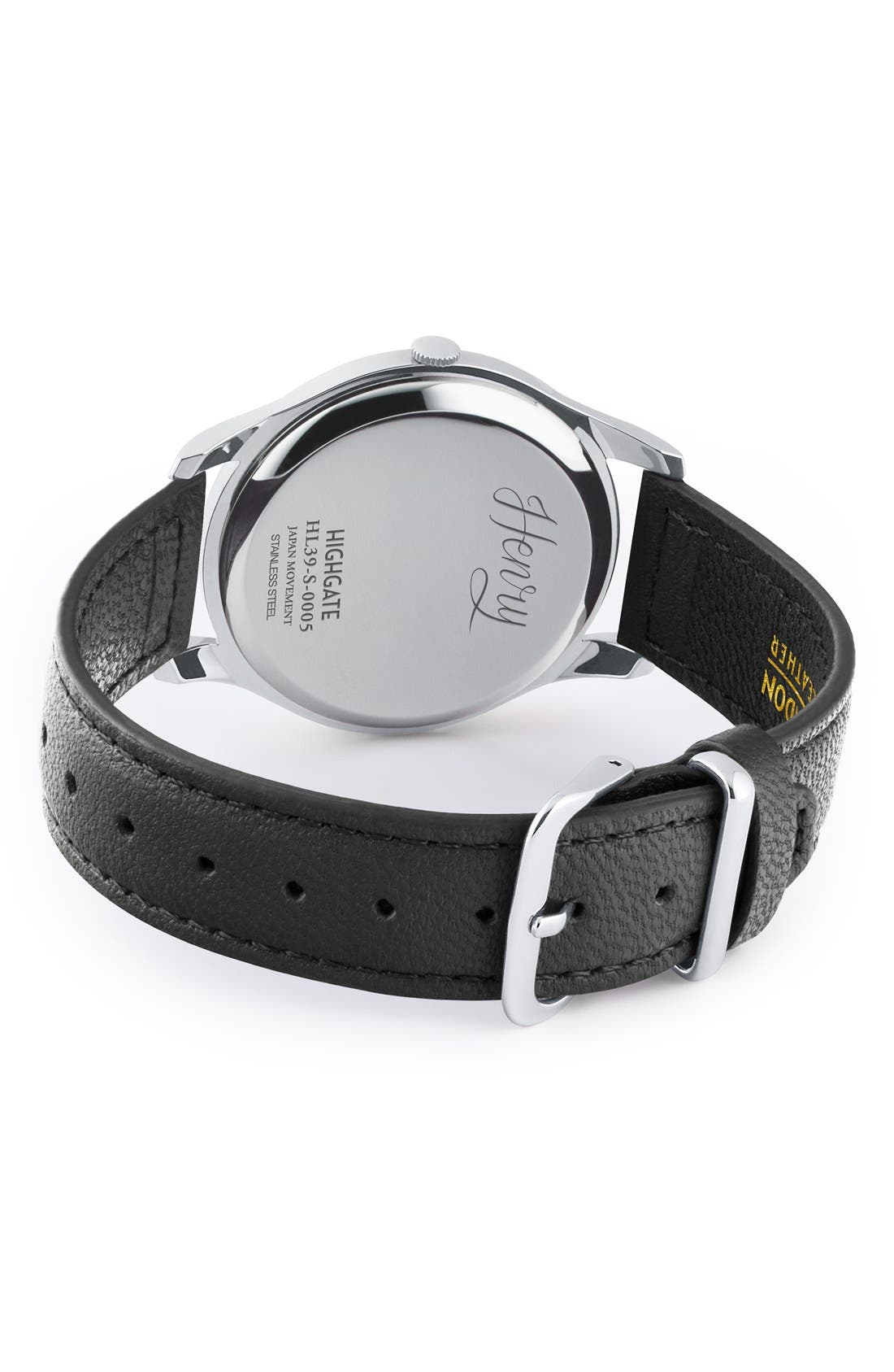 'Highgate' Leather Strap Watch, 38mm,                             Alternate thumbnail 2, color,                             Black/ White