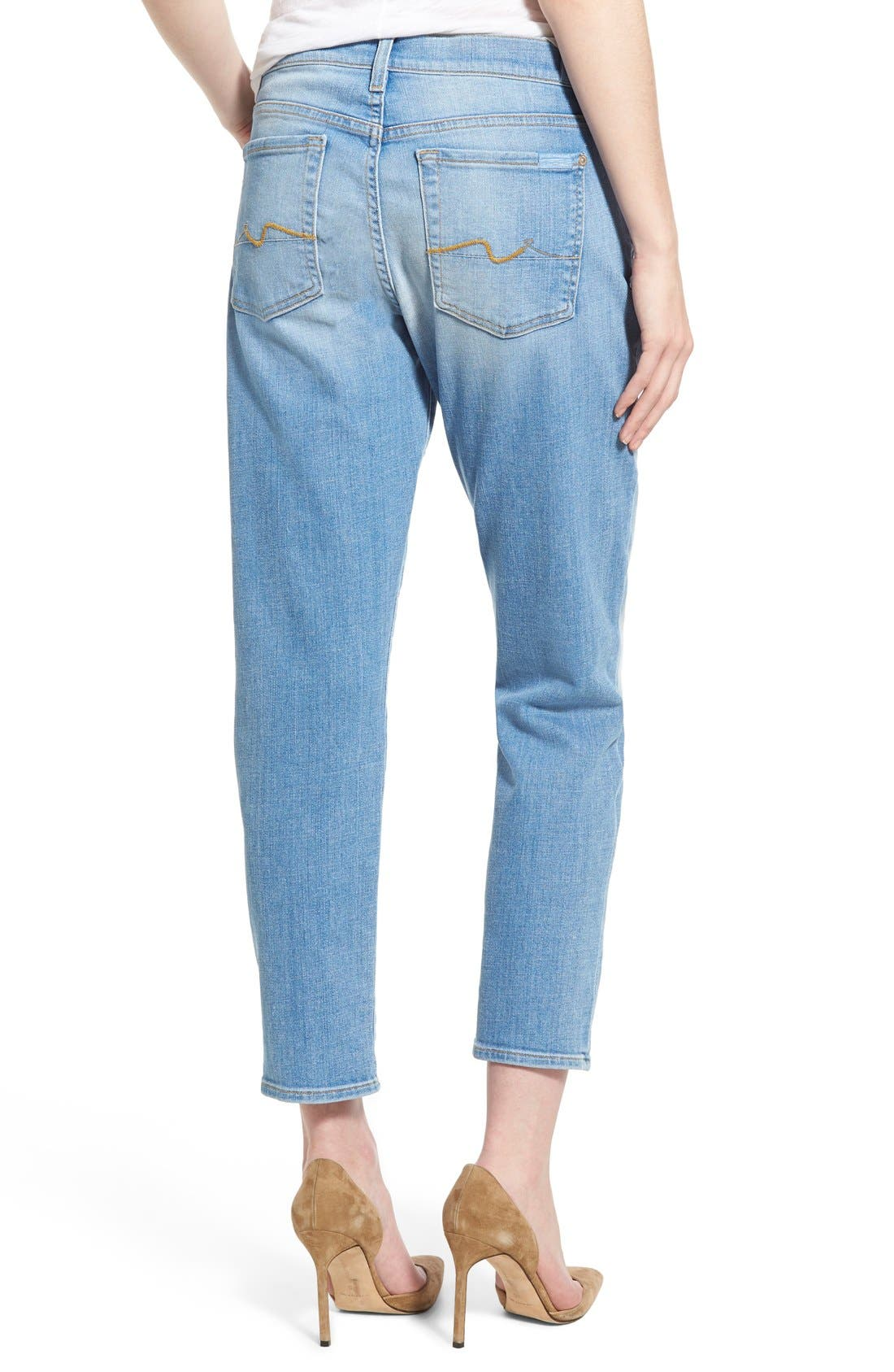 Alternate Image 2  - 7 For All Mankind® 'Josefina' Mid Rise Boyfriend Jeans (Mediterranean Sky)