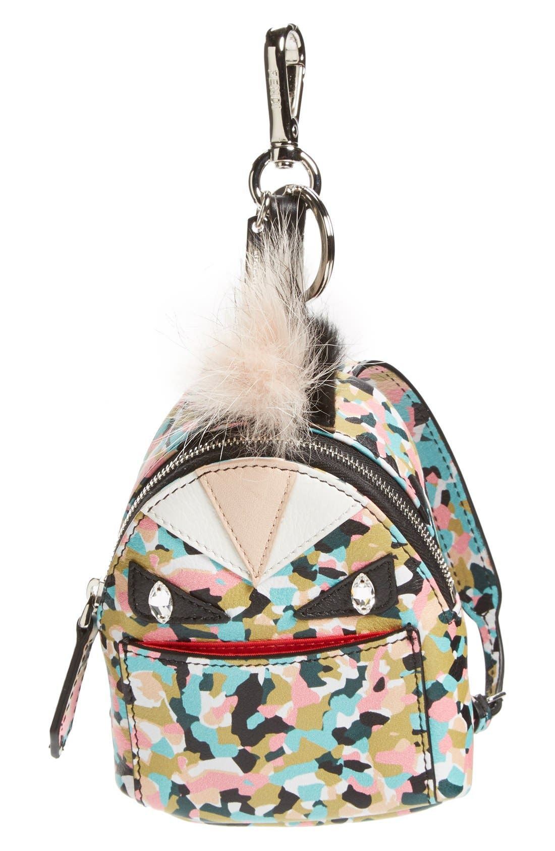 'Granite' Genuine Fox & Nutria Fur Trim Backpack Bag Charm,                             Main thumbnail 1, color,                             Saphire