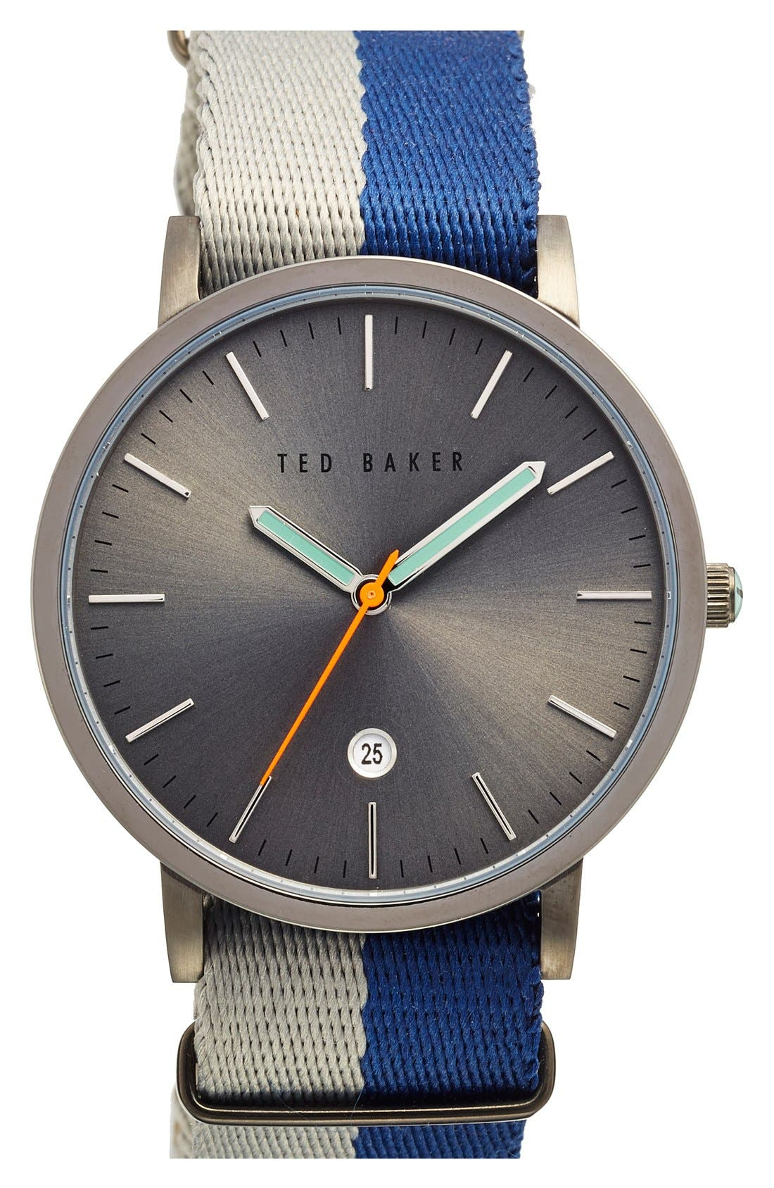 NATO Strap Watch, 40mm,                         Main,                         color, Blue/ Grey/ Gunmetal