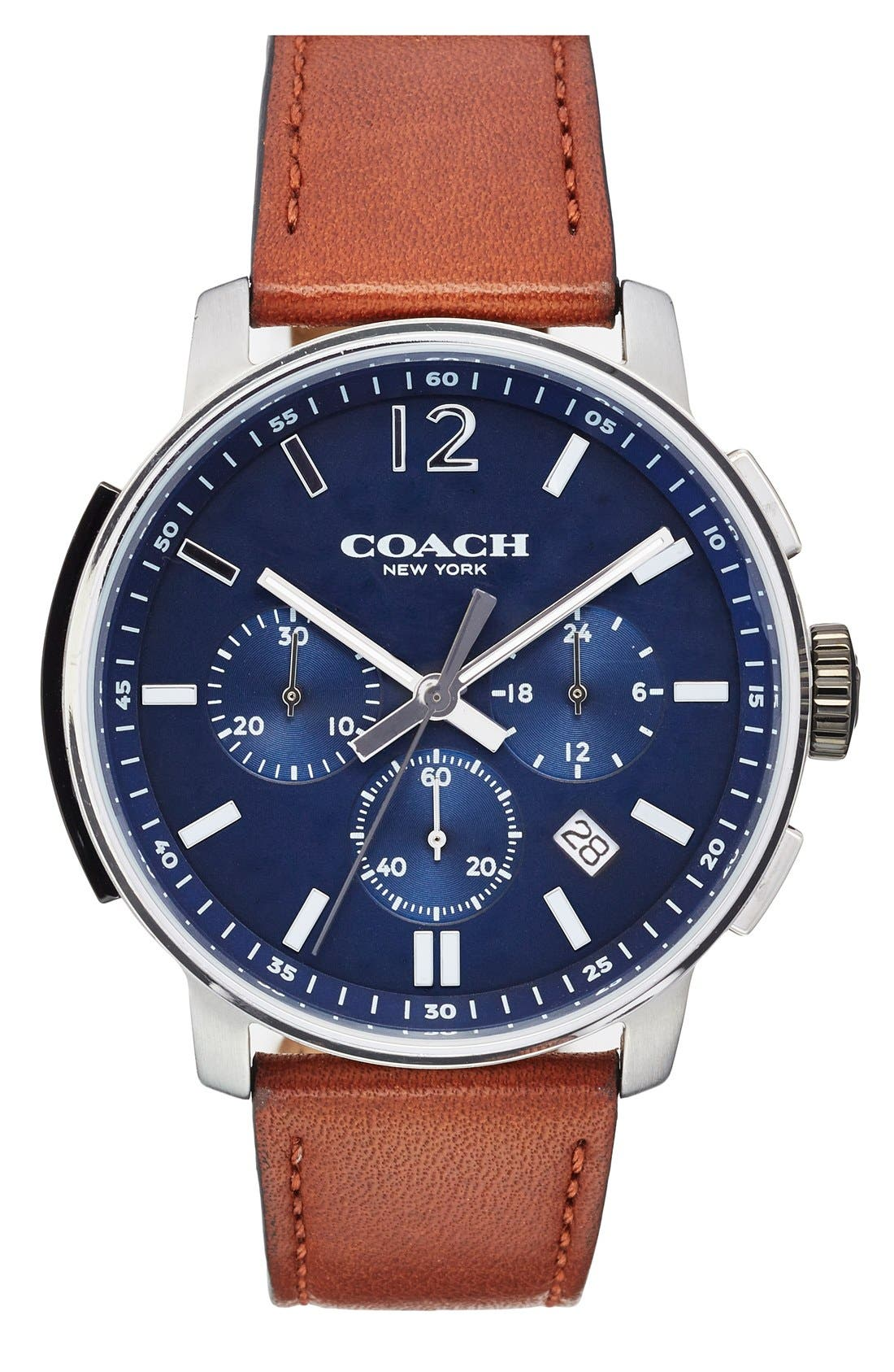 'Bleecker' Chronograph Leather Strap Watch, 44mm,                         Main,                         color, Brown/ Navy
