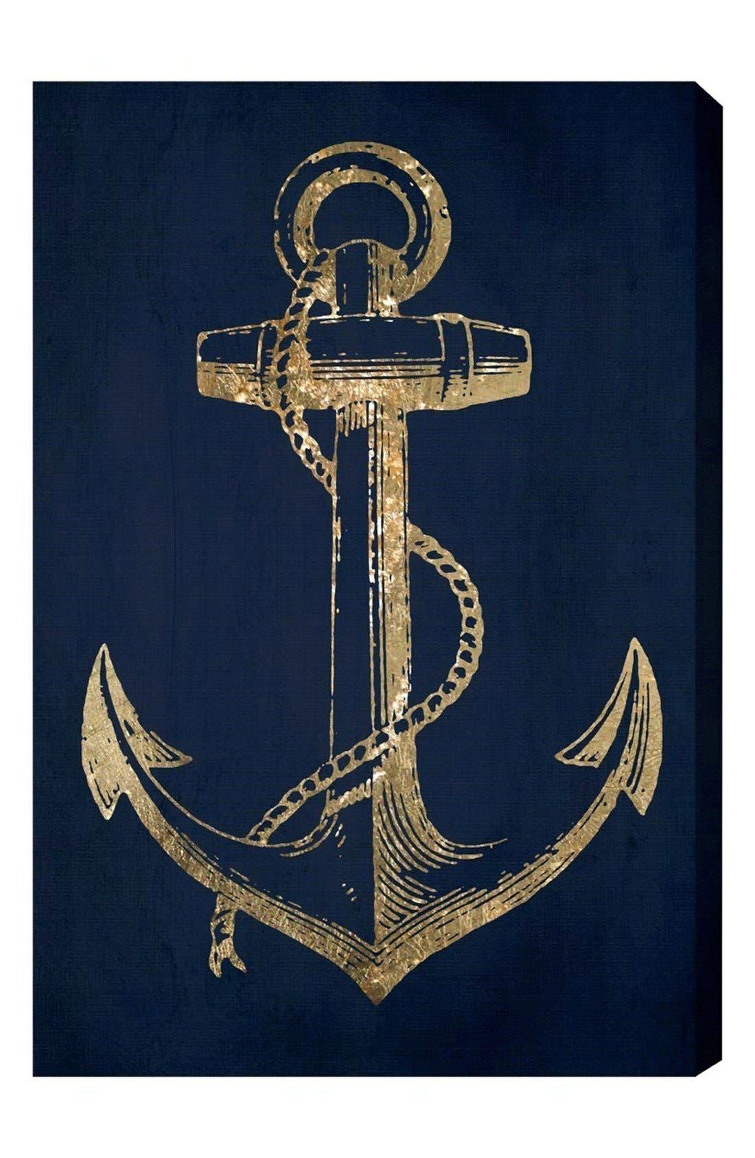 'Gold Anchor' Canvas Wall Art,                             Main thumbnail 1, color,                             Black