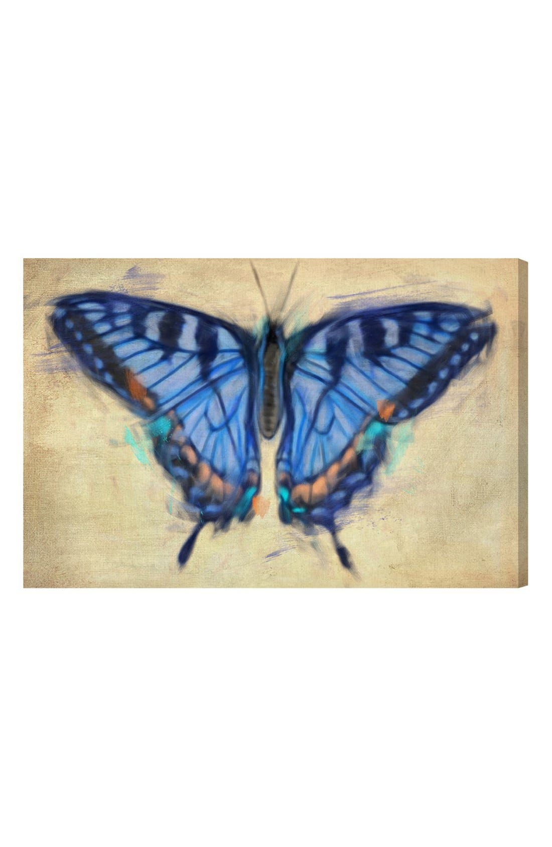'Blissful Butterfly' Canvas Wall Art,                         Main,                         color, Blue