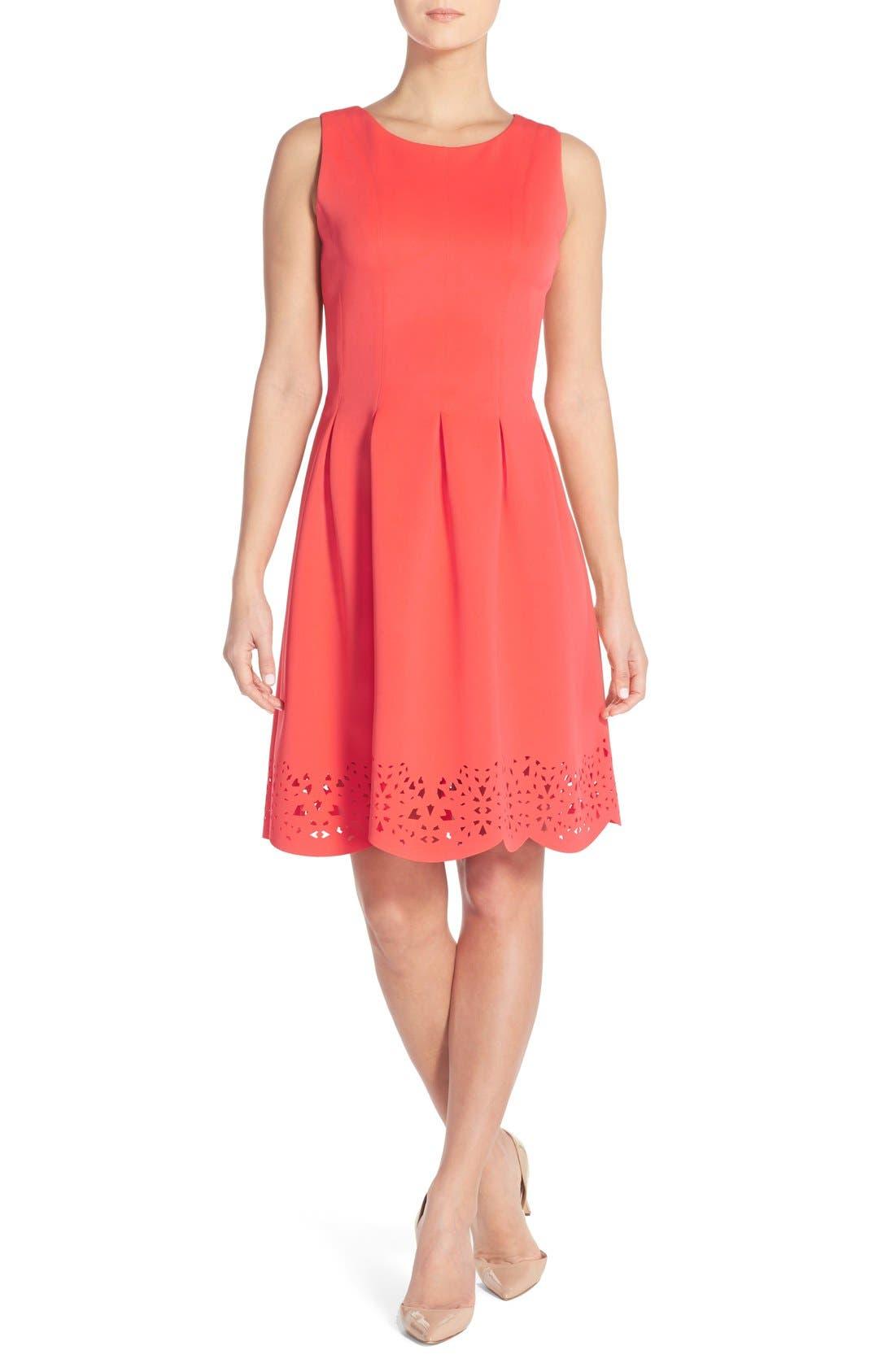 Alternate Image 1 Selected - Ivanka Trump Pleated Scuba A-Line Dress