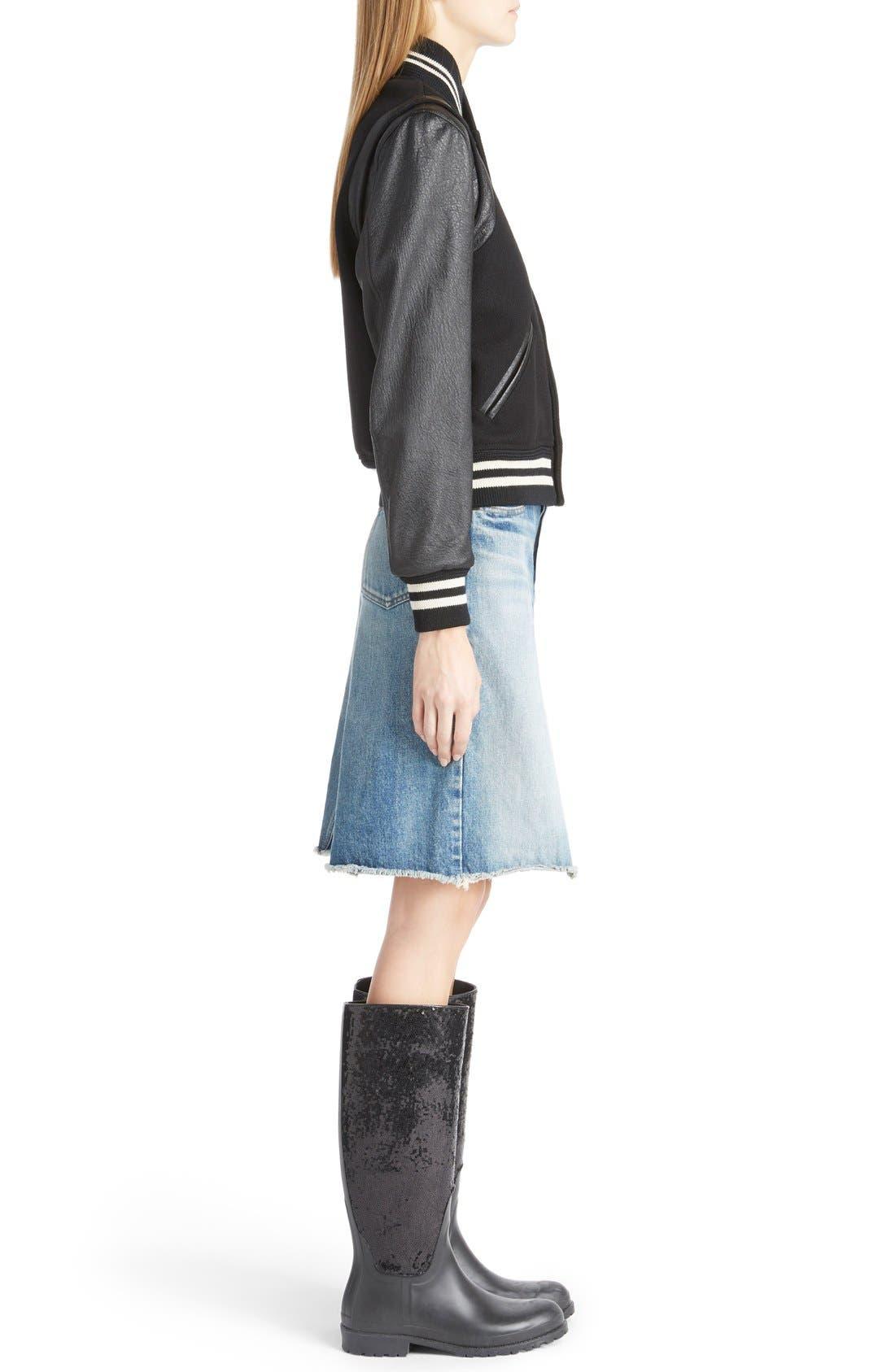 Alternate Image 4  - Saint Laurent 'Teddy' Full Leather Sleeve Bomber Jacket