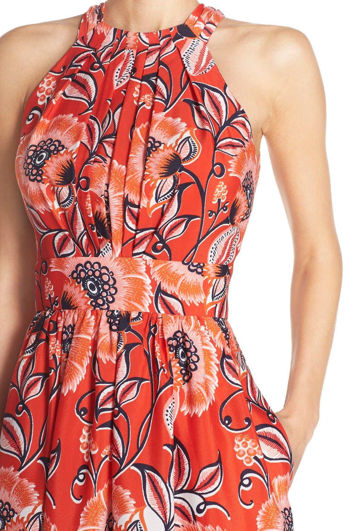 Alternate Image 5  - Eliza J Mixed Print Crêpe de Chine Fit & Flare Dress