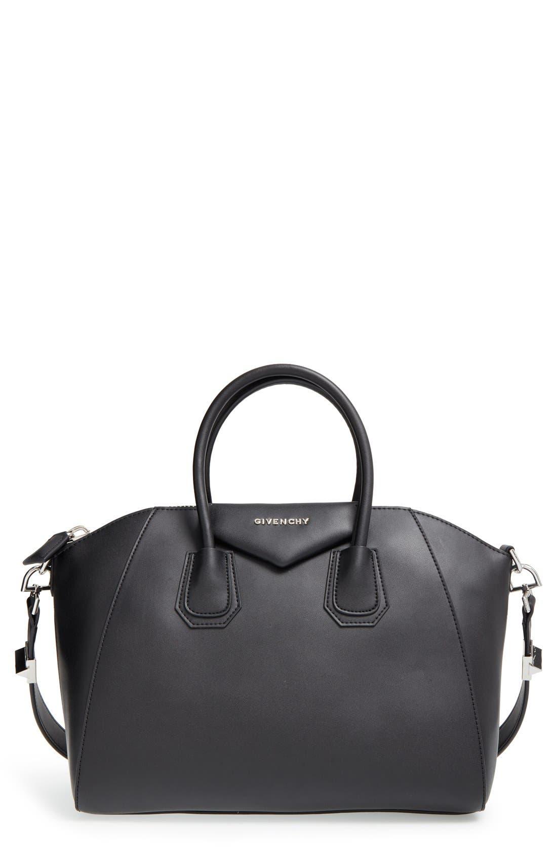 'Medium Antigona' Leather Satchel,                             Main thumbnail 1, color,                             Black