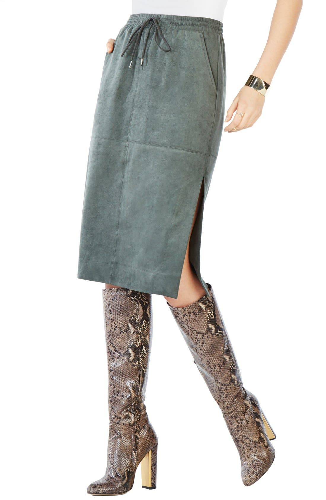 Main Image - BCBGMAXAZRIA 'Zandra' Faux Suede Pencil Skirt