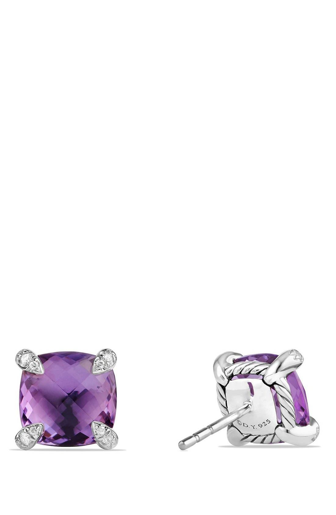 'Châtelaine' Earrings with Semiprecious Stones and Diamonds,                             Alternate thumbnail 2, color,                             Silver/ Amethyst