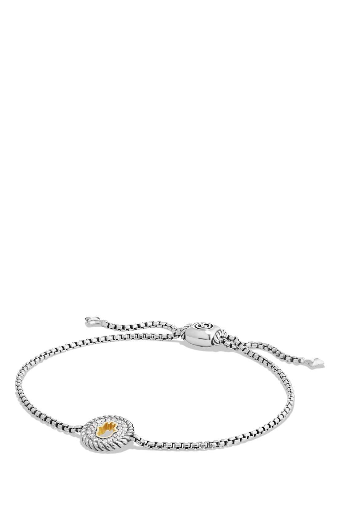 'Cable Collection' Petite Pavé Hamsa Bracelet,                         Main,                         color, Silver/ Gold