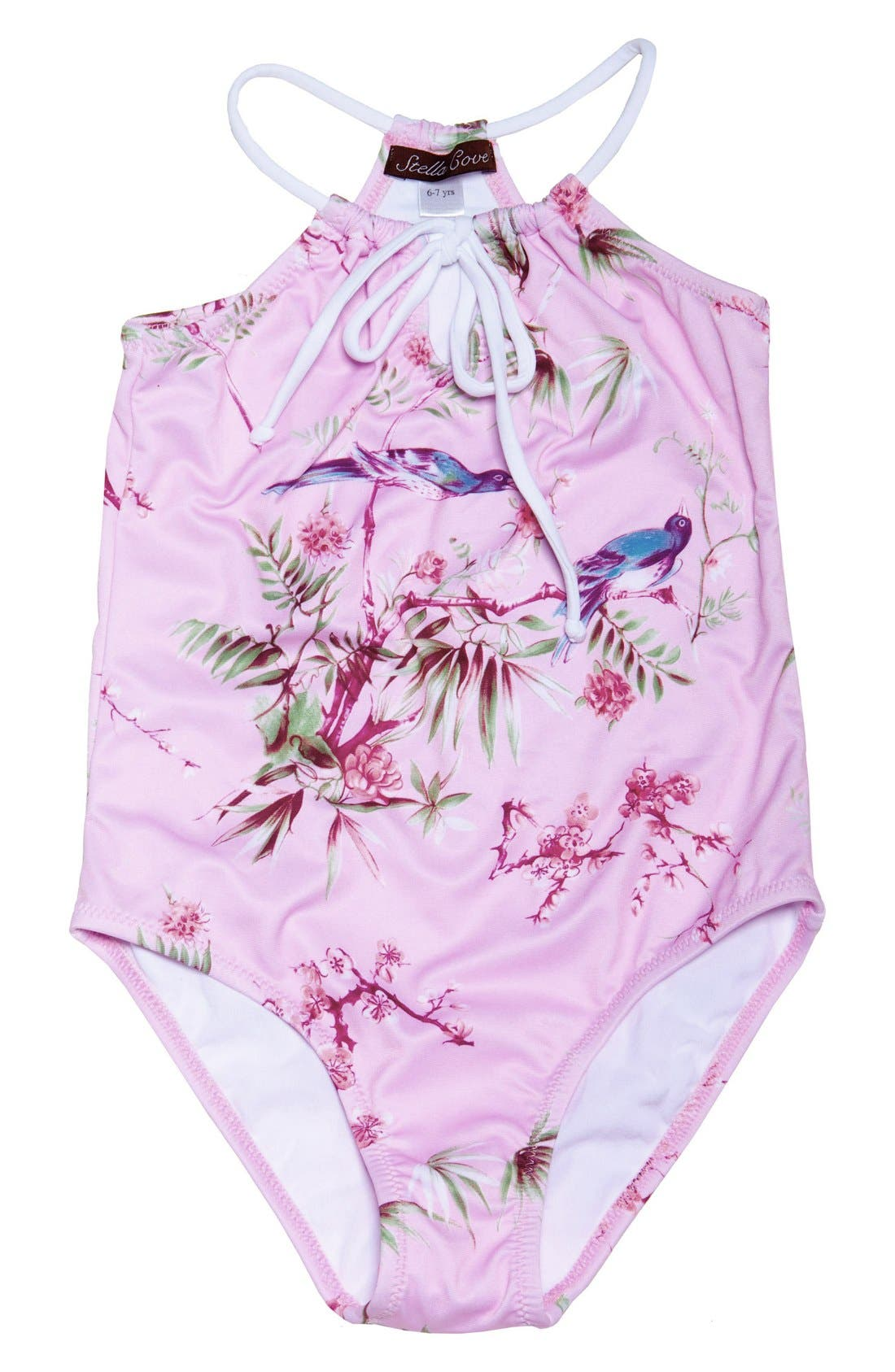 Stella Cove 'Birds on Pink' One-Piece Swimsuit (Big Girls)