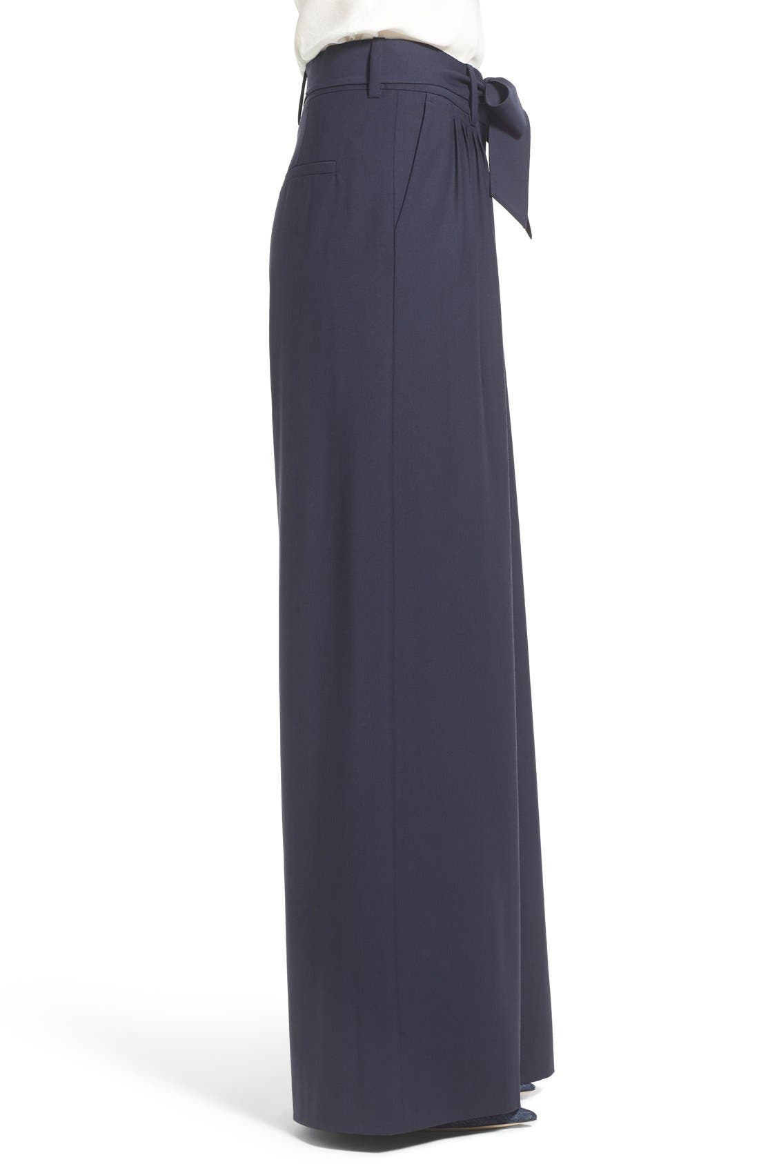 Pleat Front Trousers,                             Alternate thumbnail 4, color,                             Navy Evening