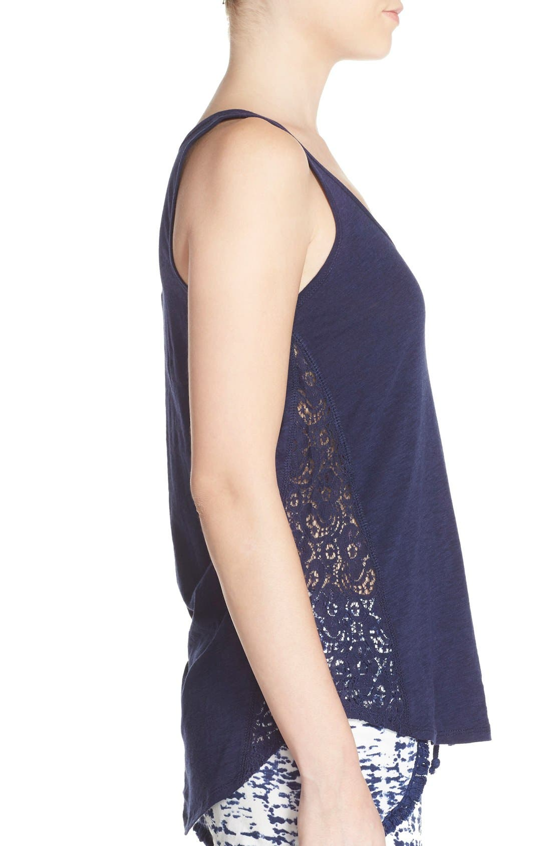 Lace Inset Jersey Tank,                             Alternate thumbnail 3, color,                             Navy