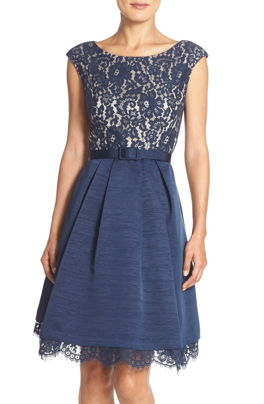 Main Image - Eliza J Mized Media Fit & Flare Dress