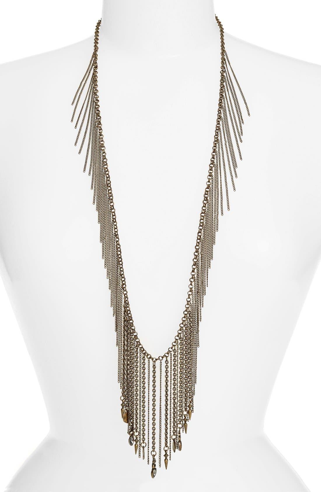Fringe Tassel Statement Necklace,                         Main,                         color, Antique Brass/ Gold