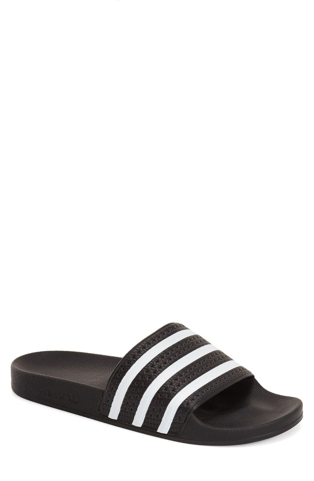 'Adilette' Slide Sandal,                             Main thumbnail 1, color,                             Black/ White/ Black
