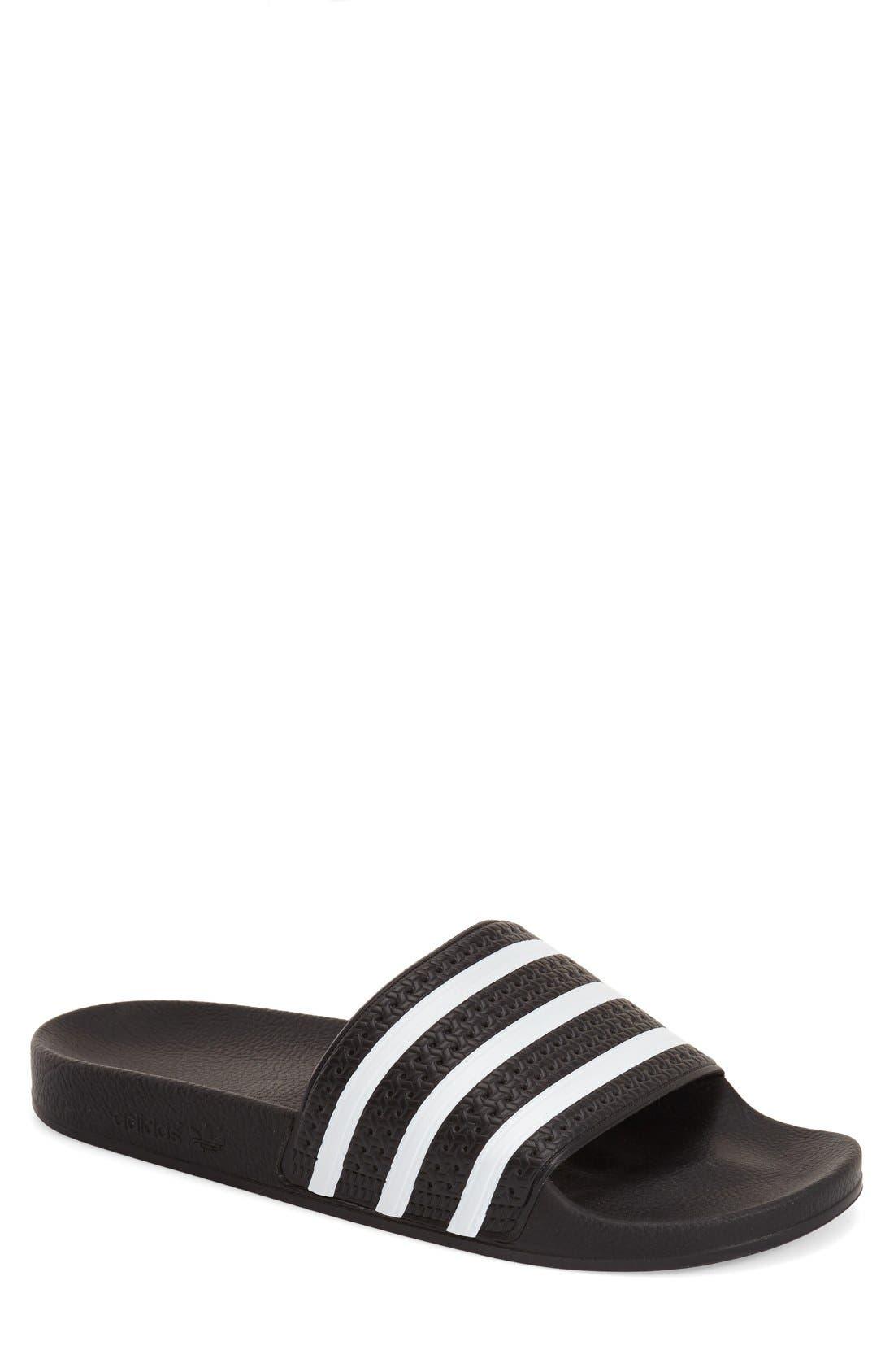 'Adilette' Slide Sandal,                         Main,                         color, Black/ White/ Black