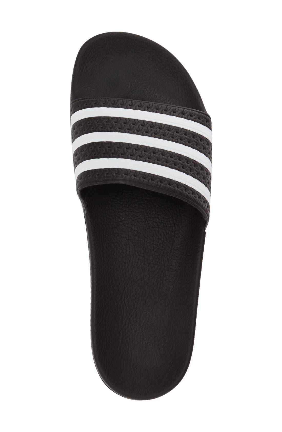 'Adilette' Slide Sandal,                             Alternate thumbnail 3, color,                             Black/ White/ Black