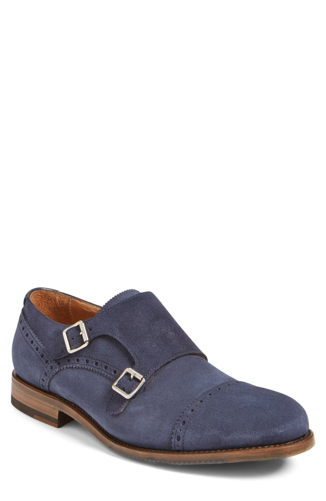 'Fallon' Weatherproof Monk Strap Shoe,                         Main,                         color, Navy Suede