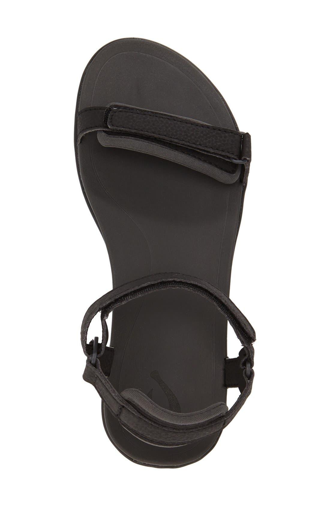 'Luana' Sandal,                             Alternate thumbnail 3, color,                             Black Faux Leather