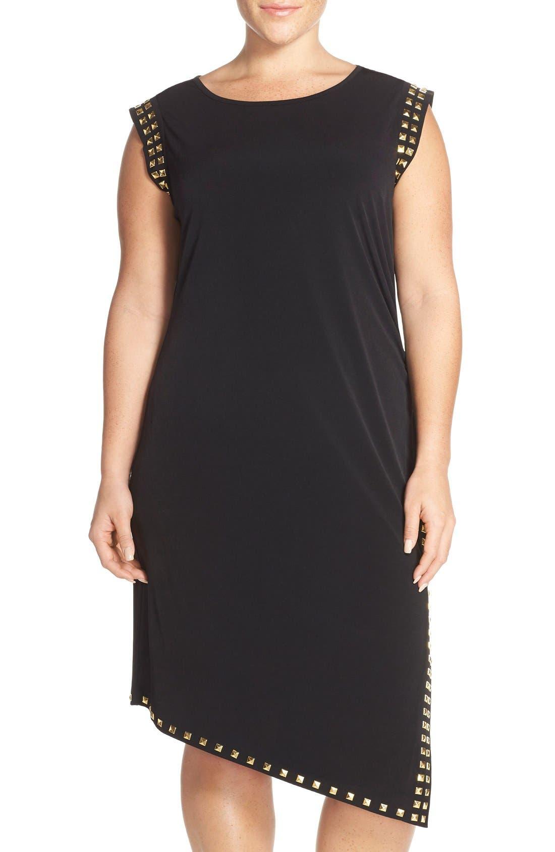 Studded Asymmetrical Shift Dress,                             Main thumbnail 1, color,                             Black/ Gold