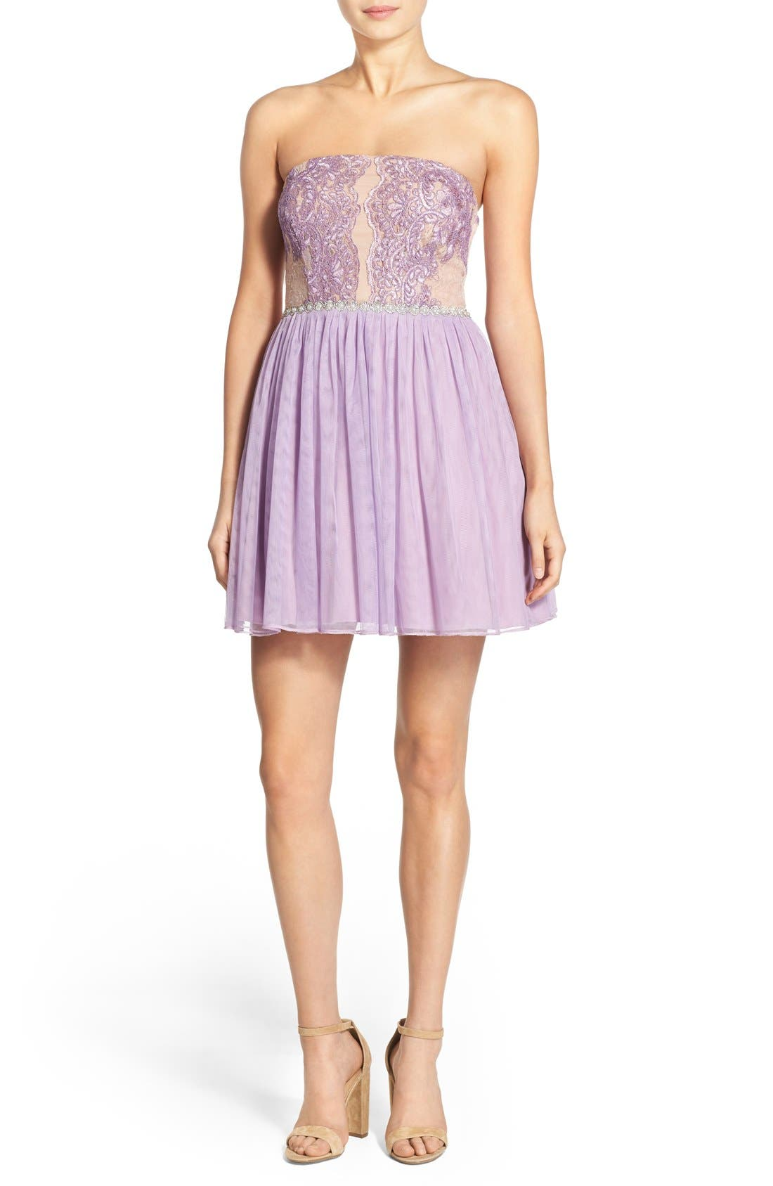 Main Image - Way-In 'Claire' Embellished Strapless Skater Dress