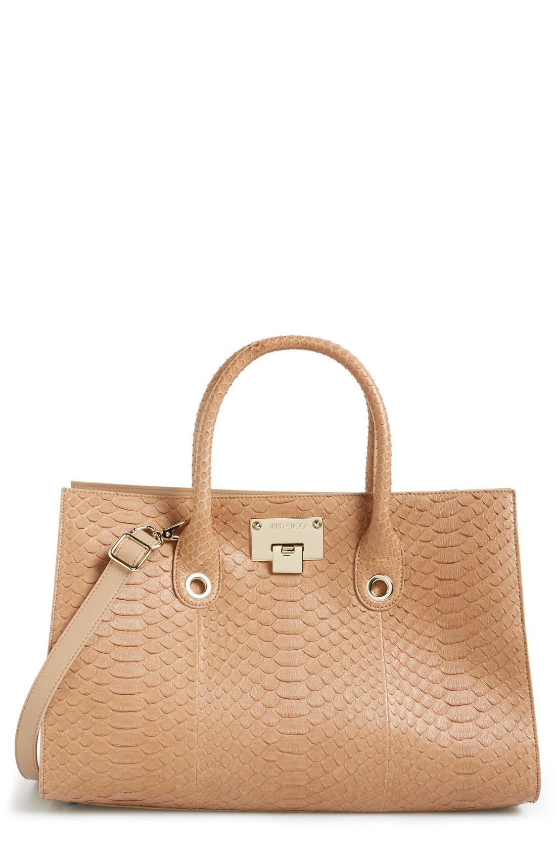 Main Image - Jimmy Choo 'Riley' Genuine Python Tote