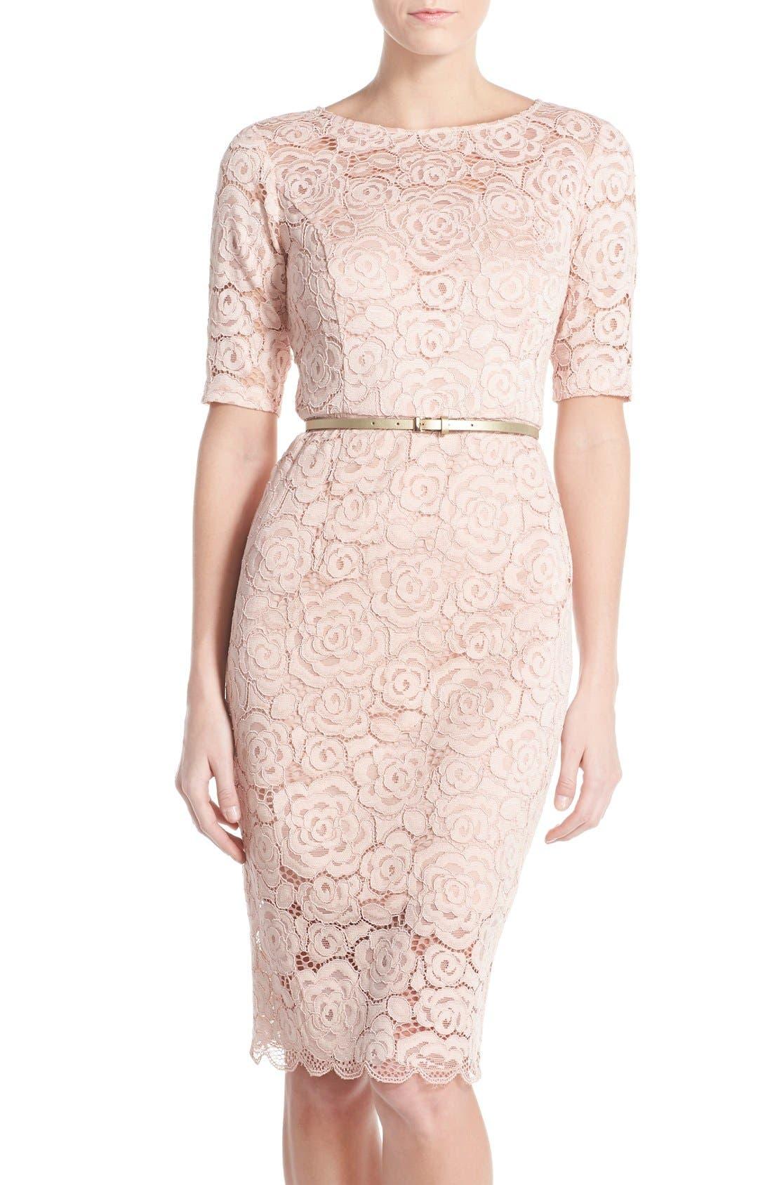 Ellen Tracy Belted Lace Sheath Dress (Regular & Petite)