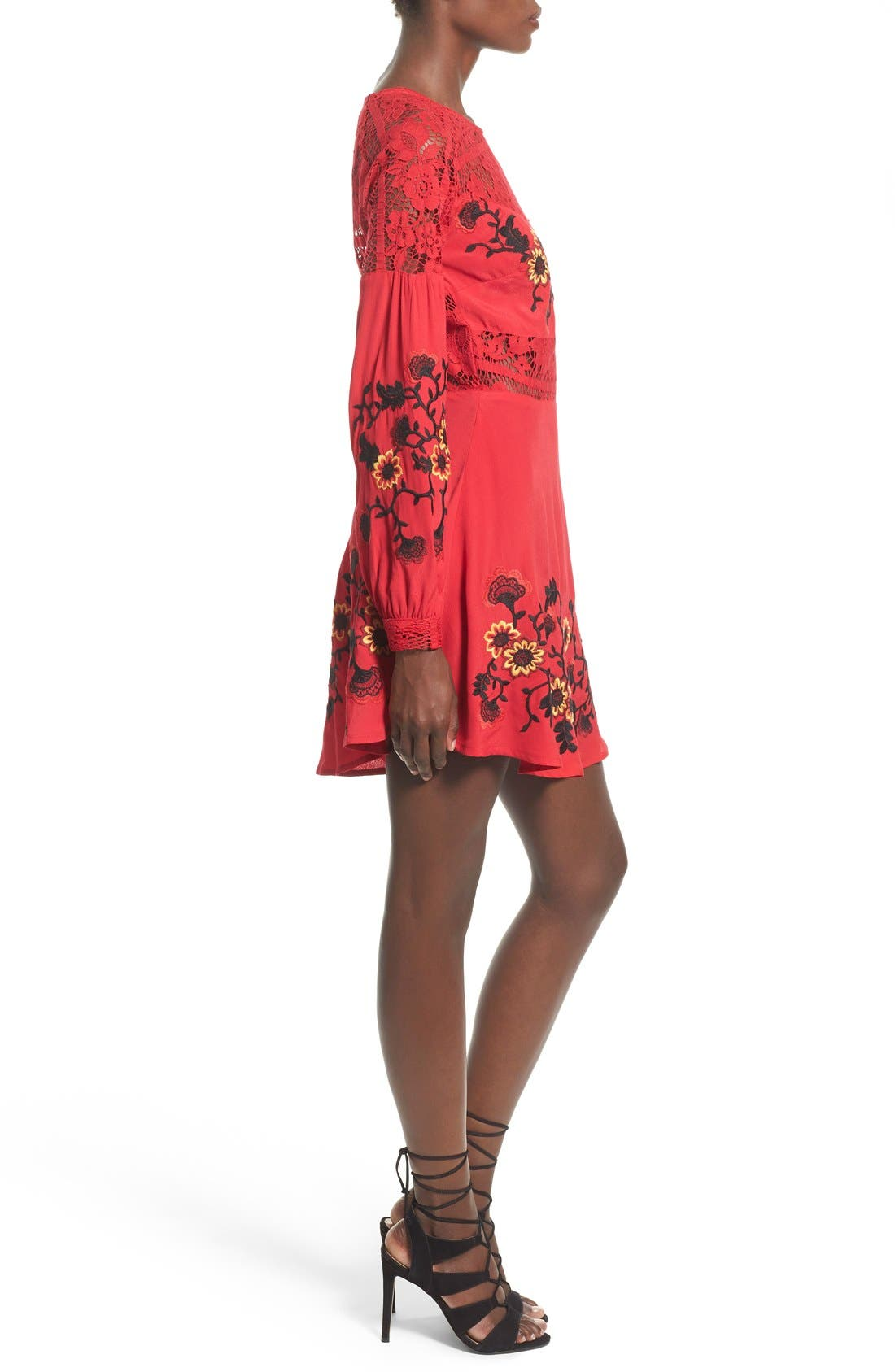 'Isabella' Fit & Flare Dress,                             Alternate thumbnail 3, color,                             Hot Red