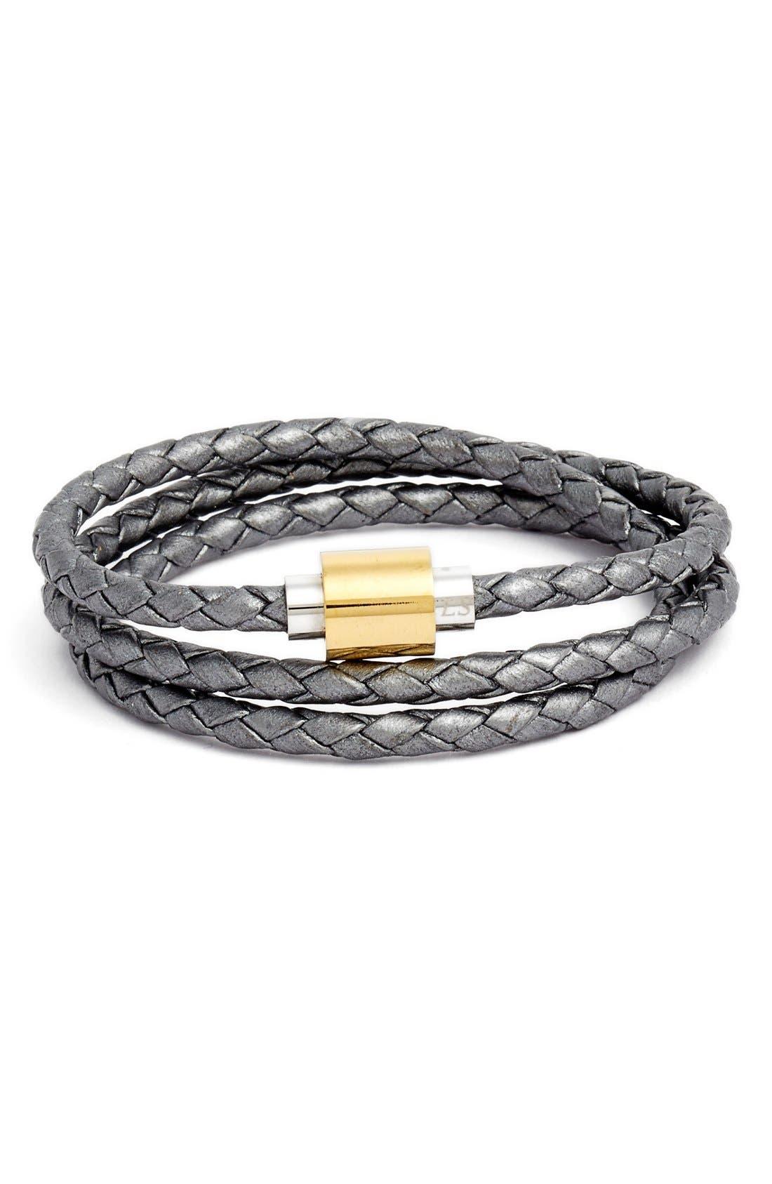 'SOBE Original' Braided Leather Wrap Bracelet,                             Main thumbnail 1, color,                             Silver