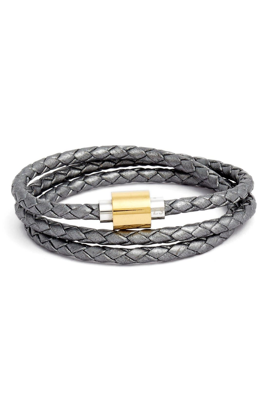 'SOBE Original' Braided Leather Wrap Bracelet,                         Main,                         color, Silver