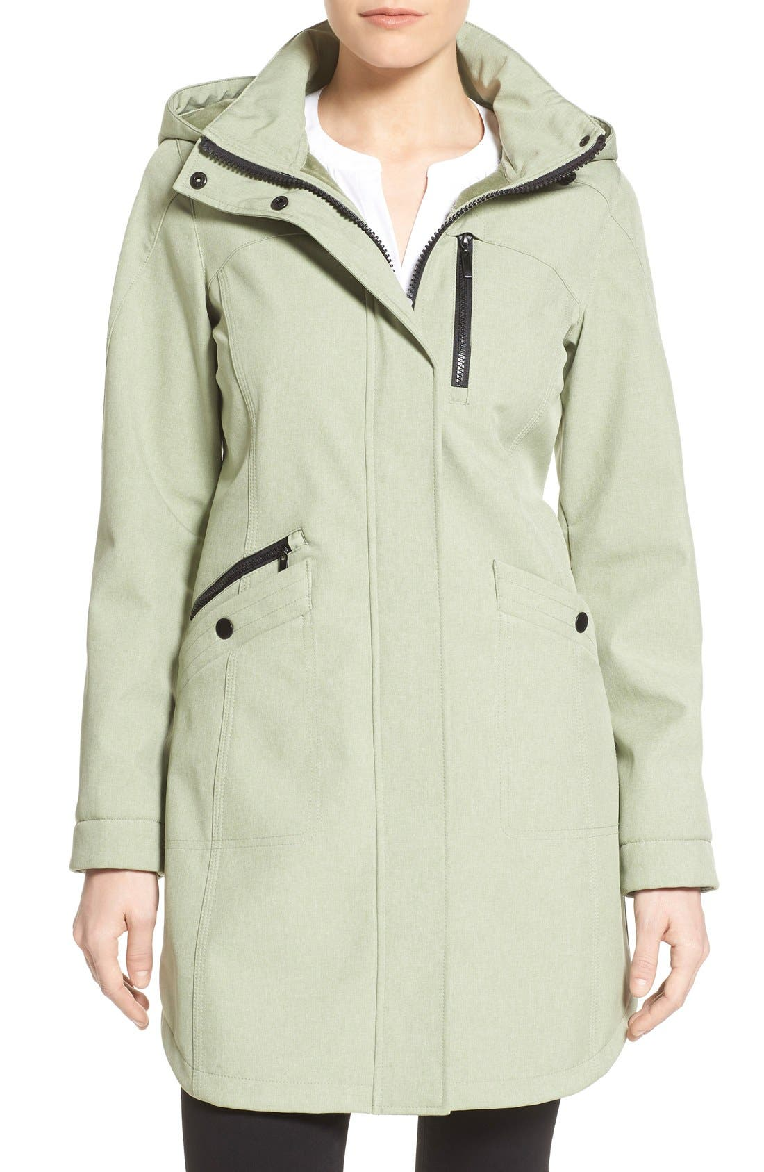 Main Image - Kristen Blake Crossdye Hooded Soft Shell Jacket (Regular & Petite)
