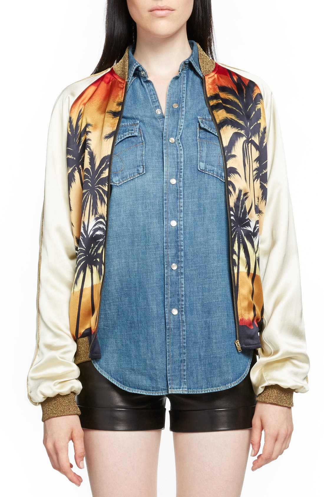 Alternate Image 1 Selected - Saint Laurent Palm Print Raglan Bomber Jacket