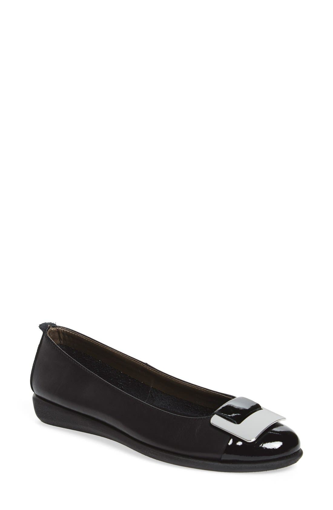 'Rise N Curry' Flat,                             Main thumbnail 1, color,                             Black Cashmere Leather