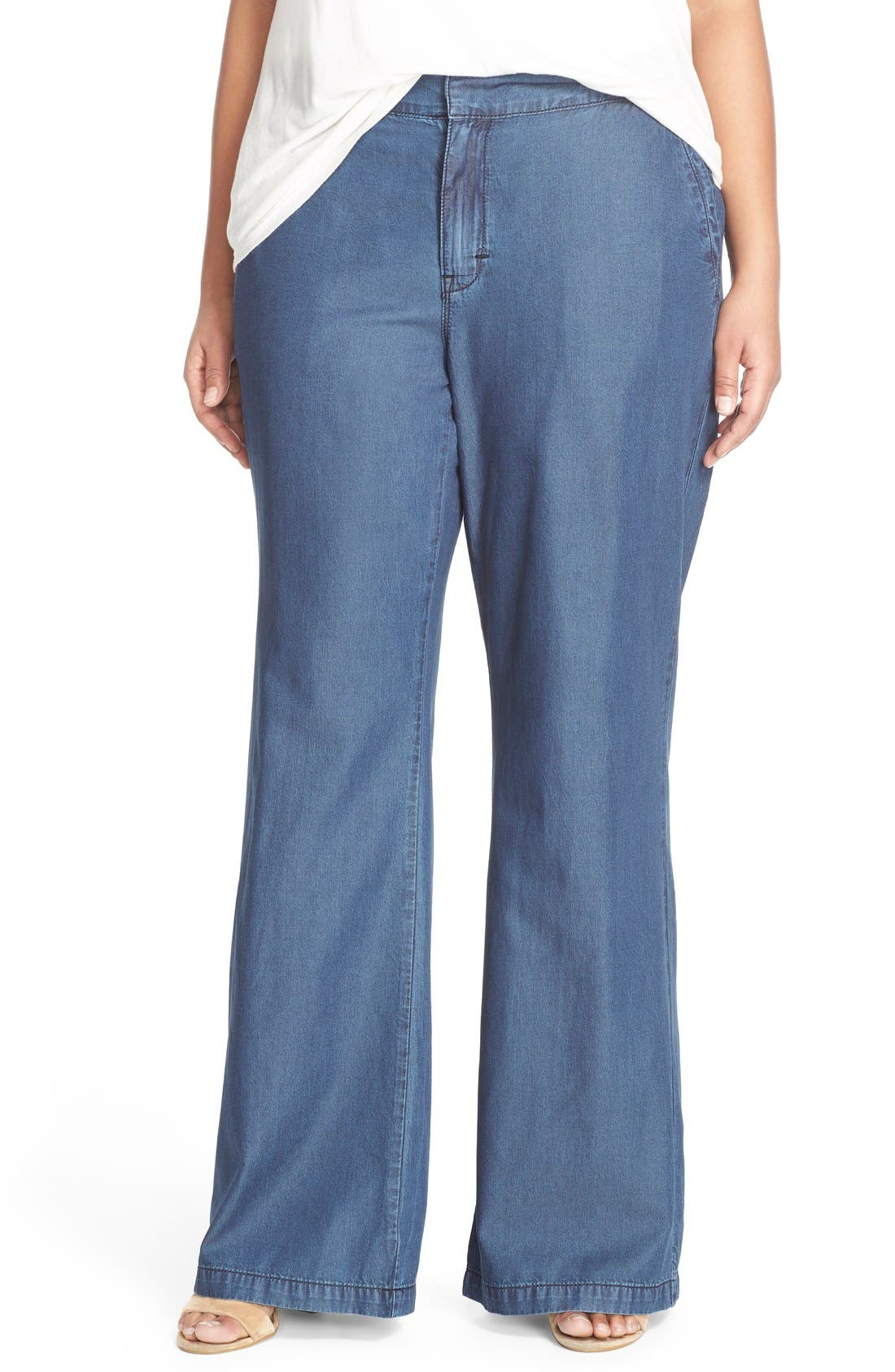 Main Image - Melissa McCarthy Seven7 Lightweight Denim Flare Leg Pants (Over Dye) (Plus Size)