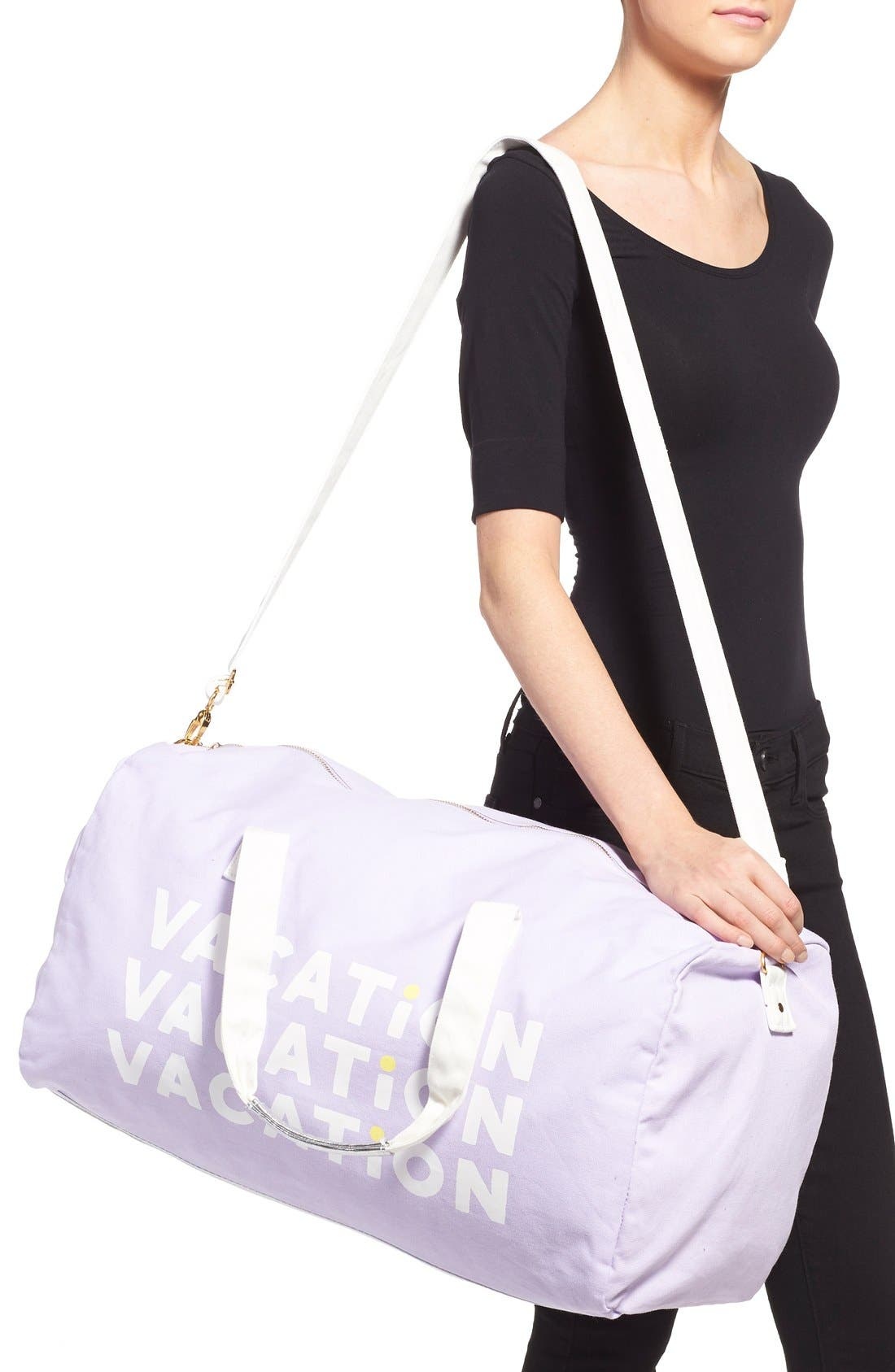 'Vacation Vacation Vacation' Canvas Duffel,                             Alternate thumbnail 2, color,                             Purple