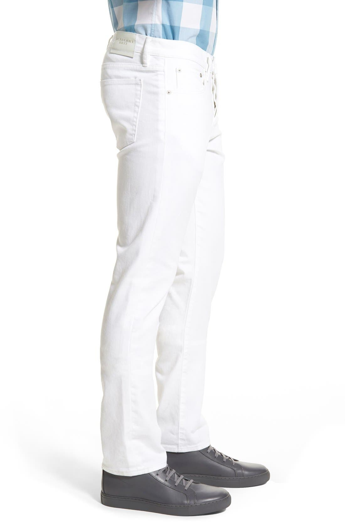 Slim Straight Leg Pants,                             Alternate thumbnail 3, color,                             White