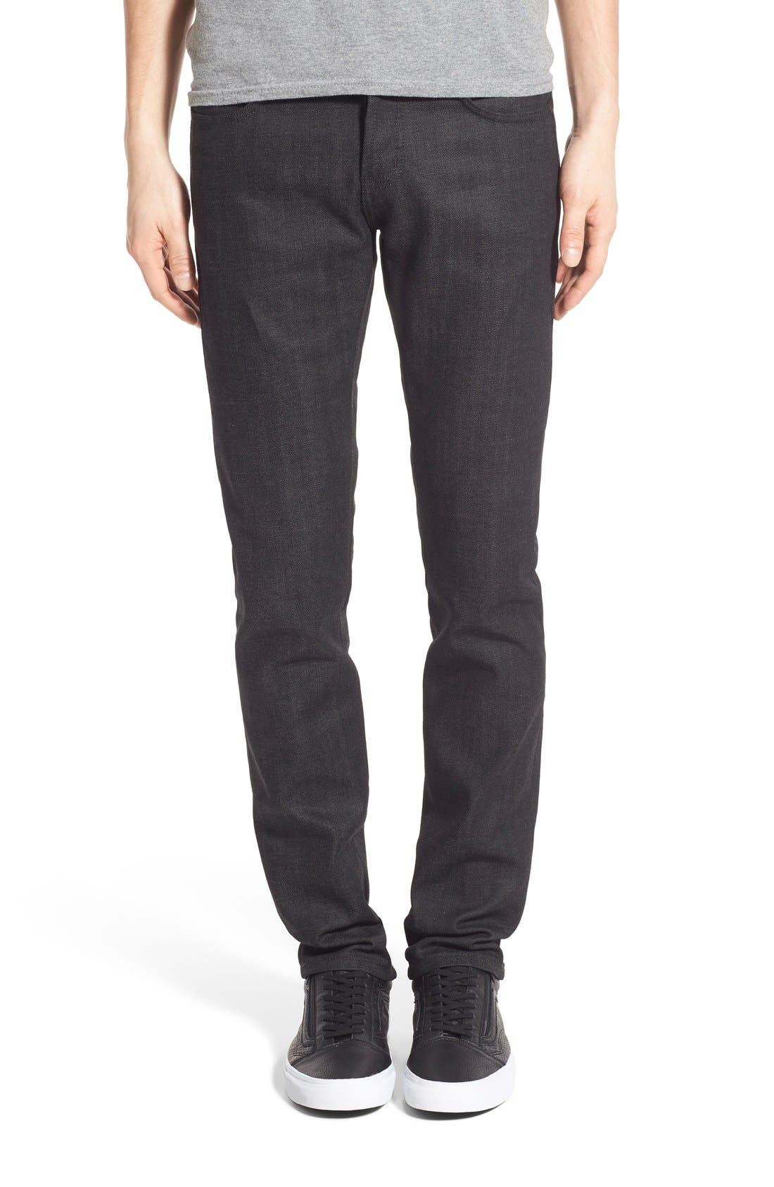 Naked & Famous Super Skinny Guy Skinny Fit Stretch Jeans (Black x Grey Selvedge)