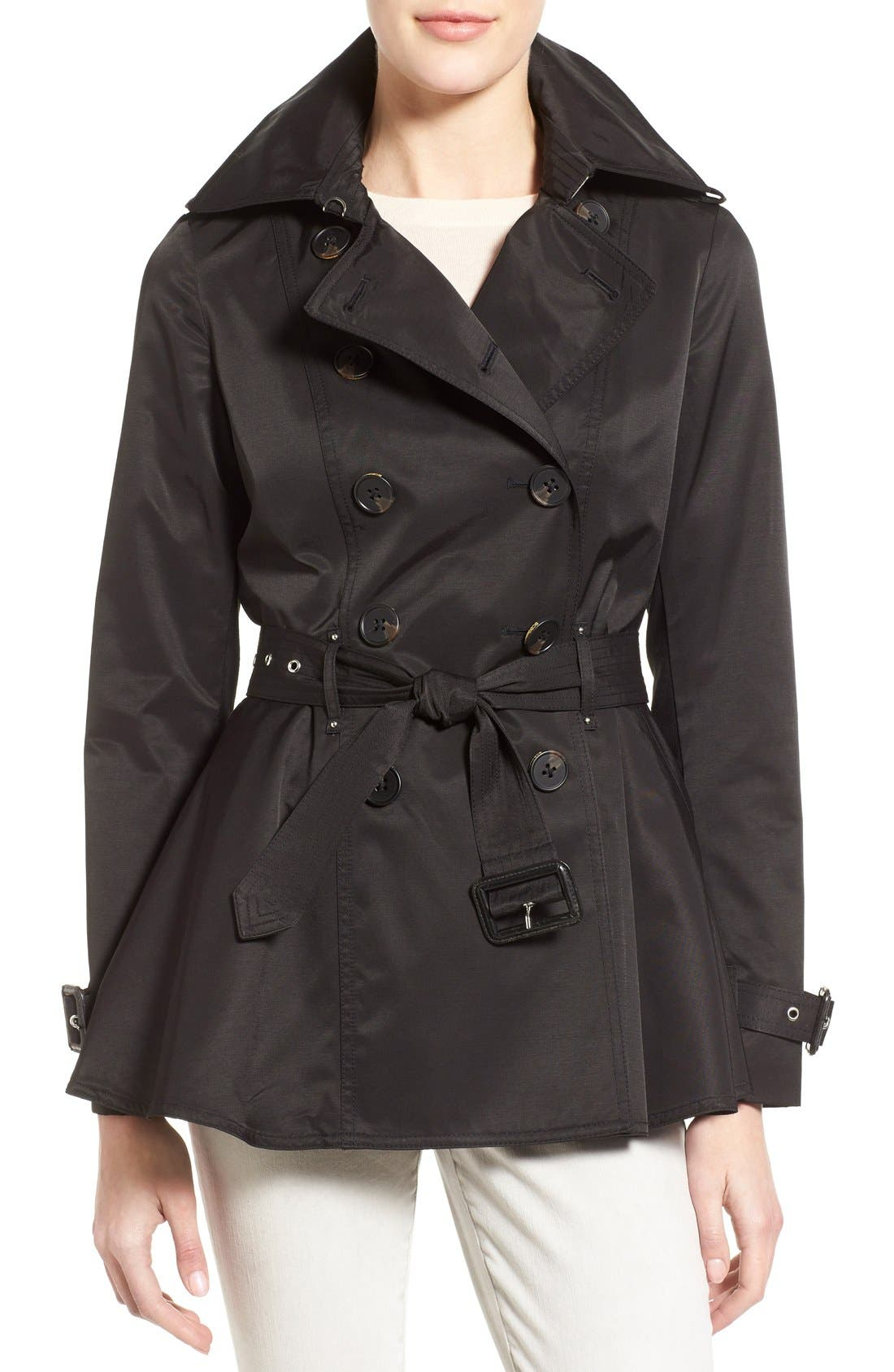 Main Image - BCBGeneration Short Double Breasted Skirted Trench Coat