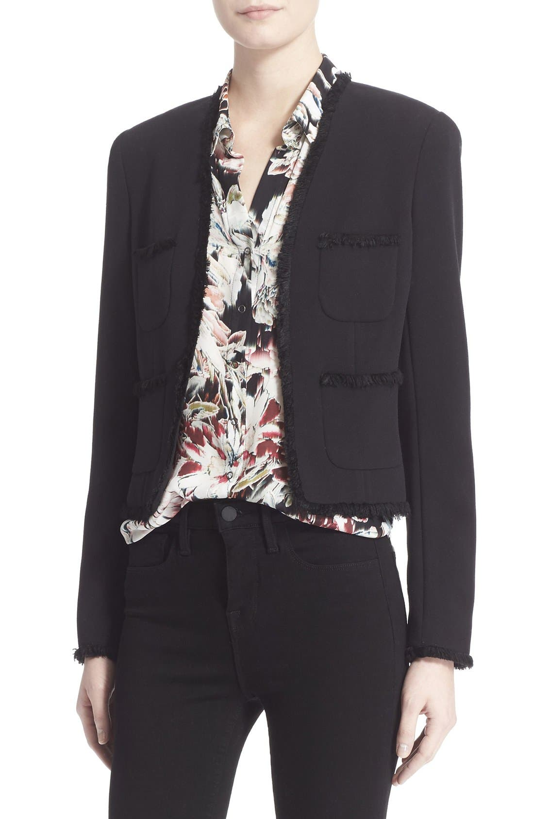 Alternate Image 1 Selected - L'AGENCE Fringe Trim Tailored Jacket